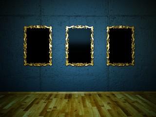3 Silberne Bilderrahmen vor blauer Betonwand