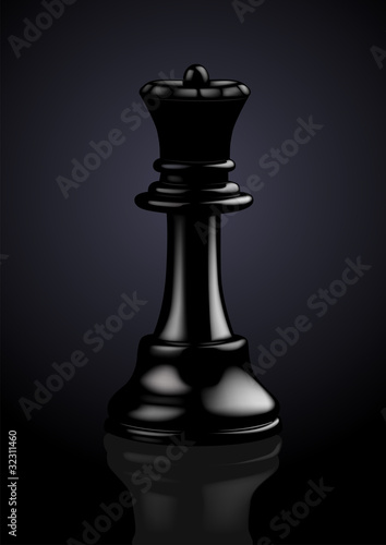 Chess Black Queen - Vector Illustration