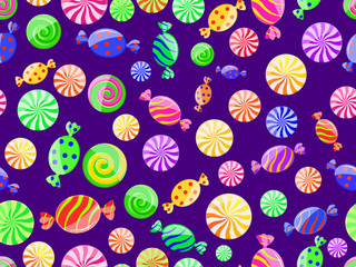 colorful striped candy seamless pattern on dark background