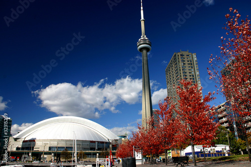 Foto op Canvas Canada CN Tower and Roger Centre During Fall