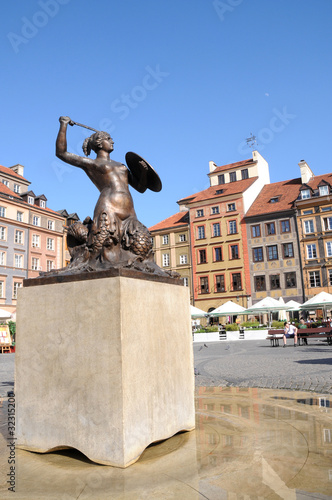 Statue of Mermaid, Old Town in Warsaw, Poland Poster