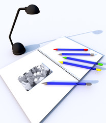 Quaderno con penne