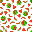 Juicy Whole and Sliced Watermelon Seamless Pattern