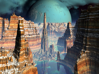 Futuristic Metropolis in Alien Canyon Valley