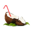 Coconut with red straw