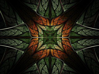 Symmetrical leafy forest pattern, fractal abstraction