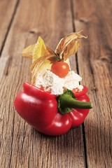 Cheese filled red bell pepper
