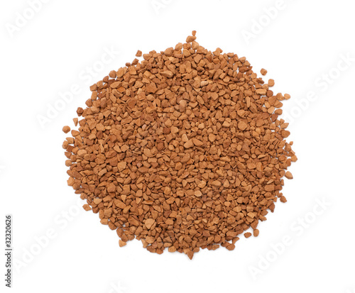 Instant Coffee Granules Isolated on White Background