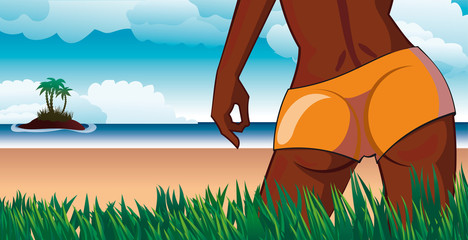 Girl look at small tropical island