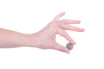 One Euro coin in female hand isolated
