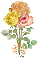 Trois roses pâles en bouquet