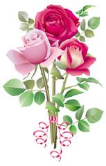 Trois roses vives en bouquet