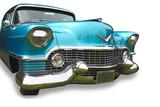 Fototapety Blue classic car on white