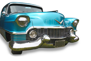 Blue classic car on white