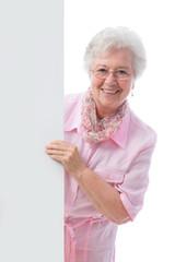 senior  woman with a placard