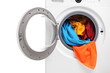 Close up of a washing machine loaded with clothes