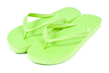 Pair of Lime Green Flip Flop Isolated on White