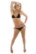 Beautiful model dancing in a bikini