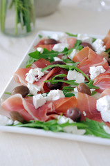 Arugula, proscutto and feta cheese salad