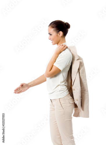 Business woman giving hand for handshake, isolated on white
