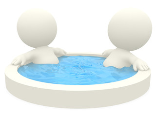 3D couple in a jacuzzi