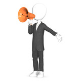 3d human shout with a orange megaphone