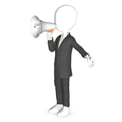 3d human character with a white megaphone