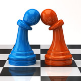 Blue and orange pawns in love