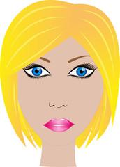 blocnde Frau mit blauen Augen