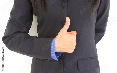 A businesswoman with thumb up.