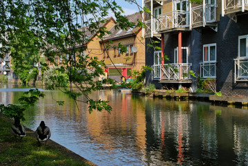 Houses at canal in London, UK