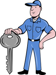 locksmith standing with key cartoon style
