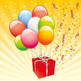 colorful balloons and gift