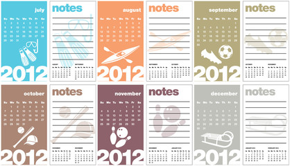 Sports Calendar 2012 with notes