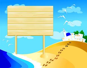 Cartello di legno in spiaggia - Wooden sign on the beach