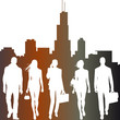 global team, city live - vector silhouettes