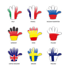 World flags set - hockey hand shape - vector illustration