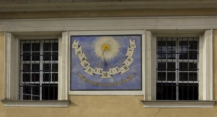 Ljubljana. Facade with sundial