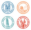 Detailed travel stamps collection: Pisa, Paris, Prague, Egypt