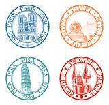 Detailed travel stamps collection: Pisa, Paris, Prague, Egypt