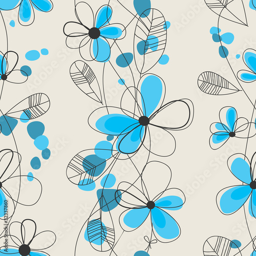 Tuinposter Abstract bloemen Cute floral seamless pattern