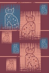 Bastet  Mythologie  Cats in pastel colors Serie