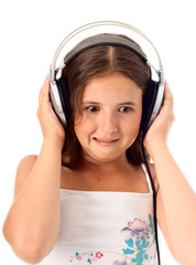 Funny girl listen music