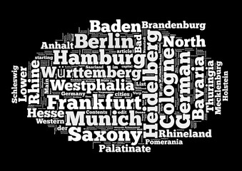 Germany Tags Collage isolated on black background