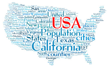 USA word collage map isolated on white background