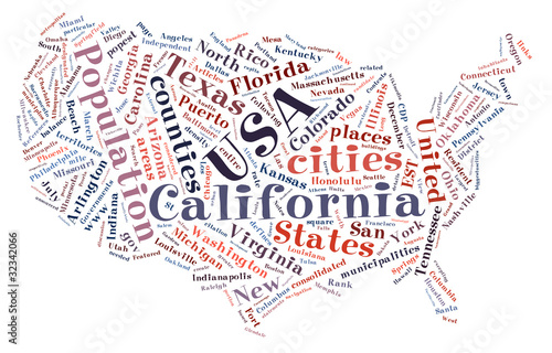 United States of America word collage map