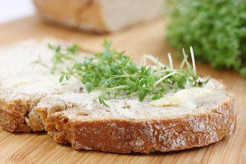 healthy bread with cress