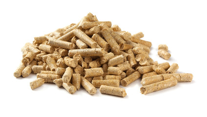 Pile of wood pellets isolated on white