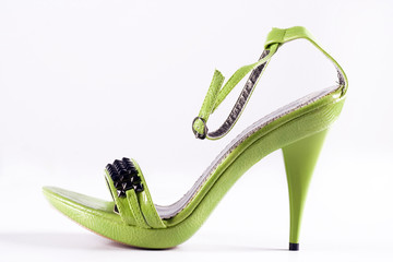 Green high-heels woman shoes