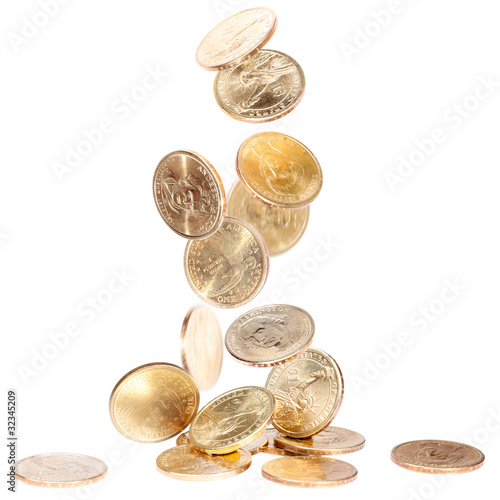 American Dollar Coins falling on the ground
